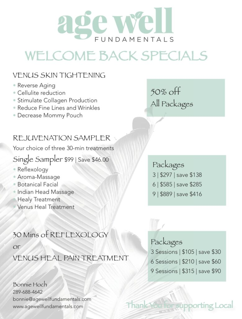 WELCOME BACK SPECIALS  Bonnie Hoch 289-688-4642 bonnie@agewellfundamentals.com www.agewellfundamentals.com REJUVENATION SAMPLER Your choice of three 30-min treatments Single Sampler $99 | Save $46.00 • Reflexology • Aroma-Massage • Botanical Facial • Indian Head Massage • Healy Treatment • Venus Heal Treatment  30 Mins of REFLEXOLOGY or VENUS HEAL PAIN TREATMENT VENUS SKIN TIGHTENING • Reverse Aging • Cellulite reduction • Stimulate Collagen Production • Reduce Fine Lines and Wrinkles